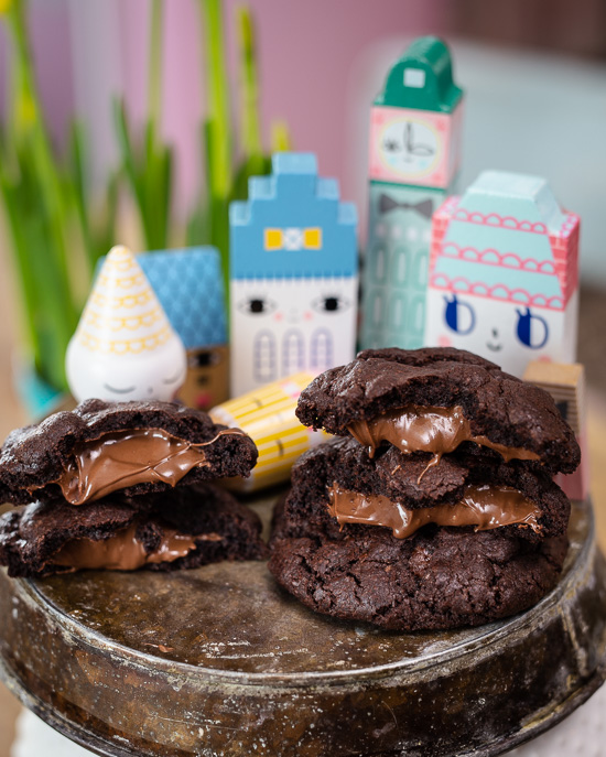 Die habe ich auf Basis des Rezepts der Schoko Karamell Kekse aus der School of Baking gemacht