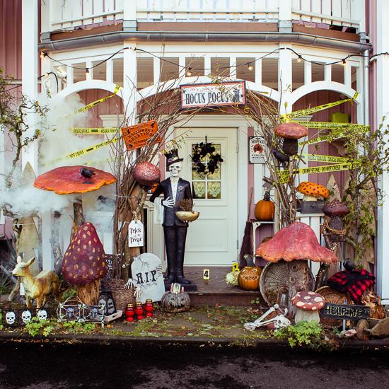 So sieht die Halloween Deko am Rosa Haus Eingang gerade aus