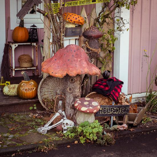 Die Halloween Pilze sind aus Bauschaum und dann mit Acrylfarbe bemalt