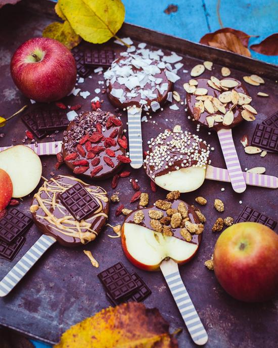Heute gibt´s als Snack diese Äpfel am Stiel