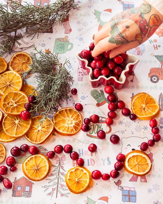 Diese Girlande habe ich aus getrockneten Orangenscheiben und frischen Cranberries gemacht