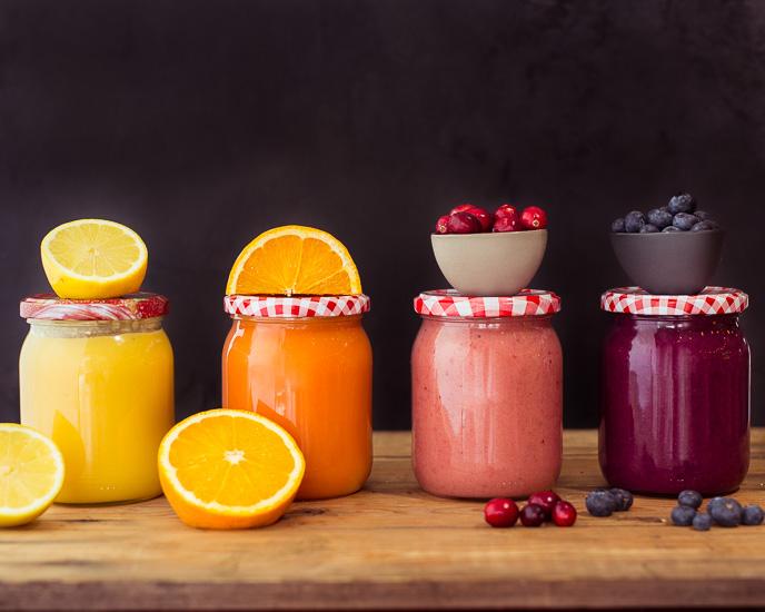 Vier verschiedene Curds: Lemon- Cranberry & Blueberry & Blutorange
