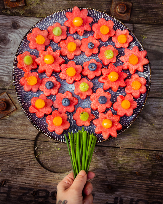 Mein Melonenteller als Obst Blumenstrauss