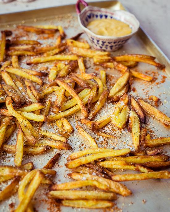 So sehen meine selbstgemachten Pommes Frites direkt aus dem Backofen aus