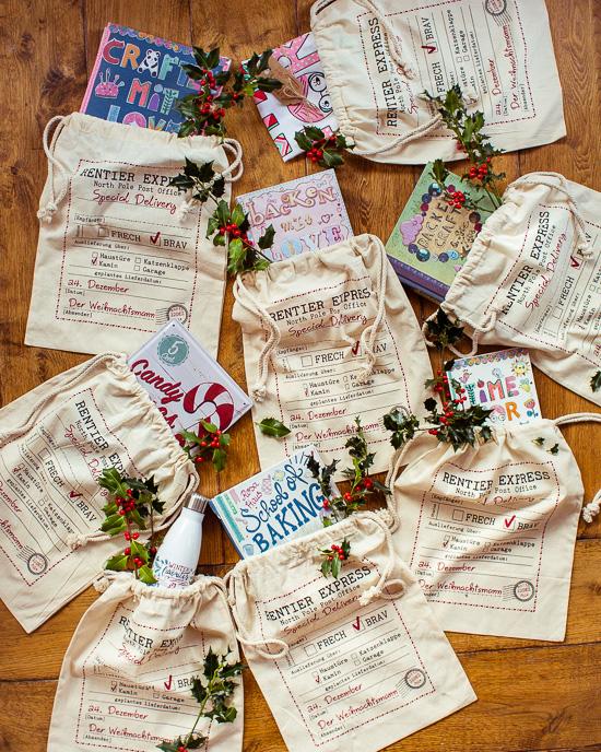 Anstelle von Geschenkpapier gibt es die wieder verwendbaren Geschenkebeutel