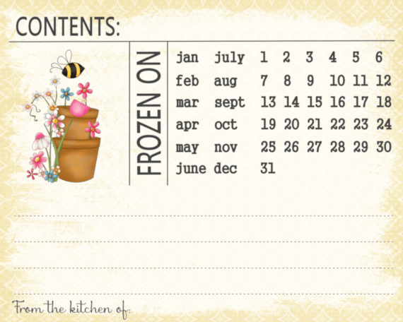 Printable Freezer Labels