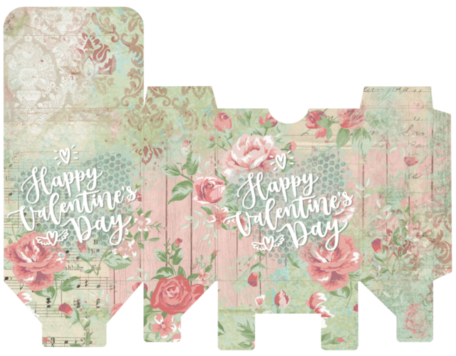 picture relating to Free Printable Shabby Chic Paper referred to as Do it yourself Printable Valentine Reward Bins