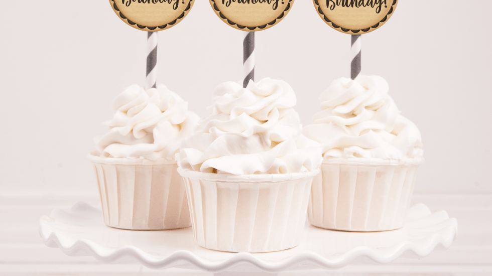 Happy Birthday Word Art Cupcake Toppers