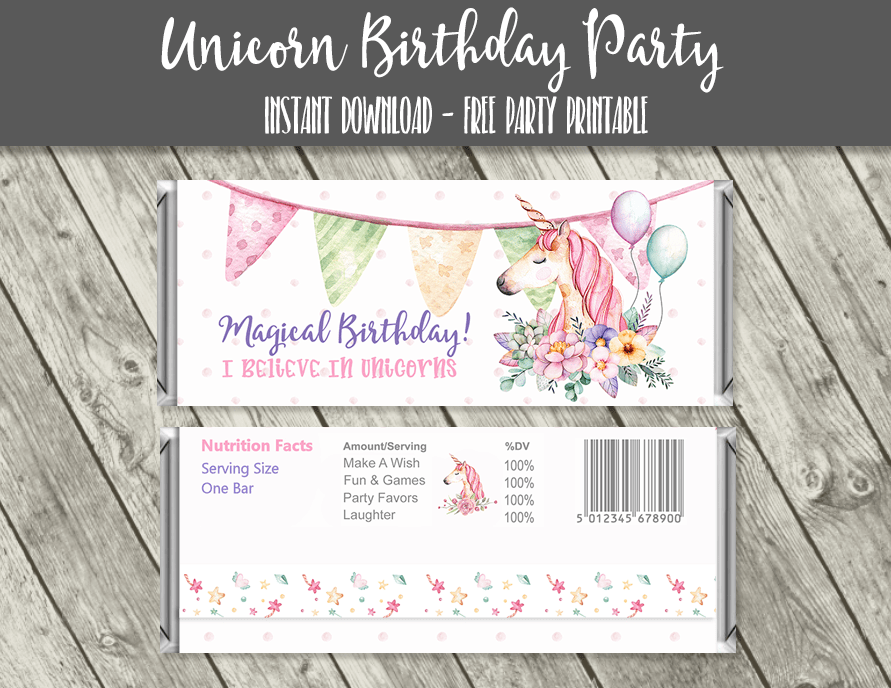 Unicorn Birthday Full Size Candy Bar Wrappers