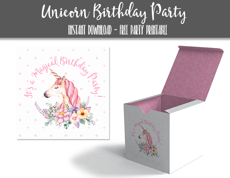 Unicorn Birthday Party 3 inch Cupcake Box Stickers