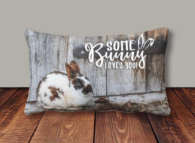 farm life rabbit pillow