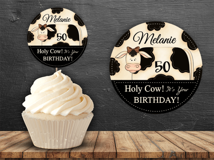 editable pdf cow cupcake topper