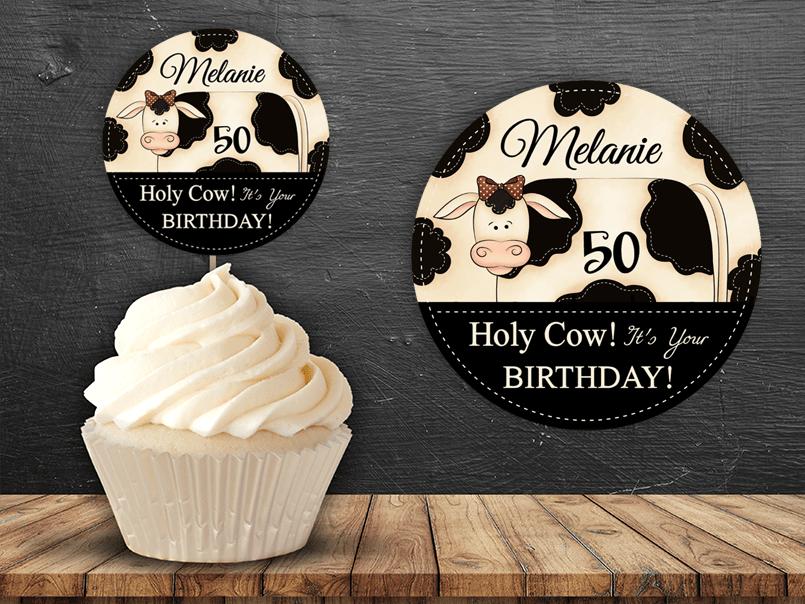 editable pdf cow cupcake topper