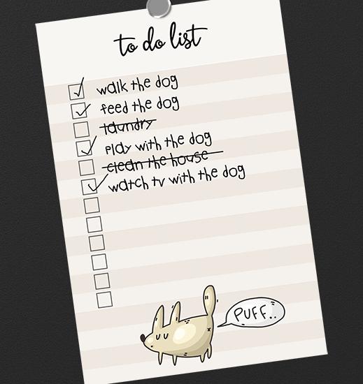 free funny dog printable to do list
