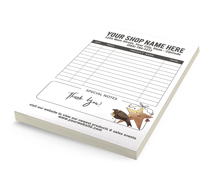 free printable custom customer receipt pads