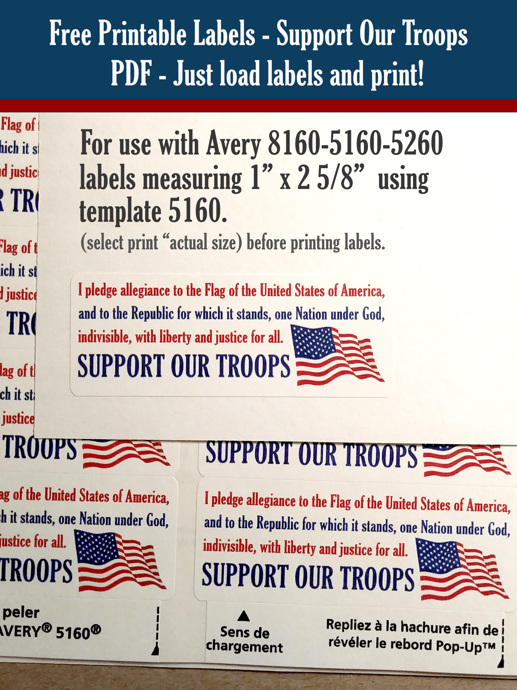 free printable pledge of allegiance support our troops stickers labels