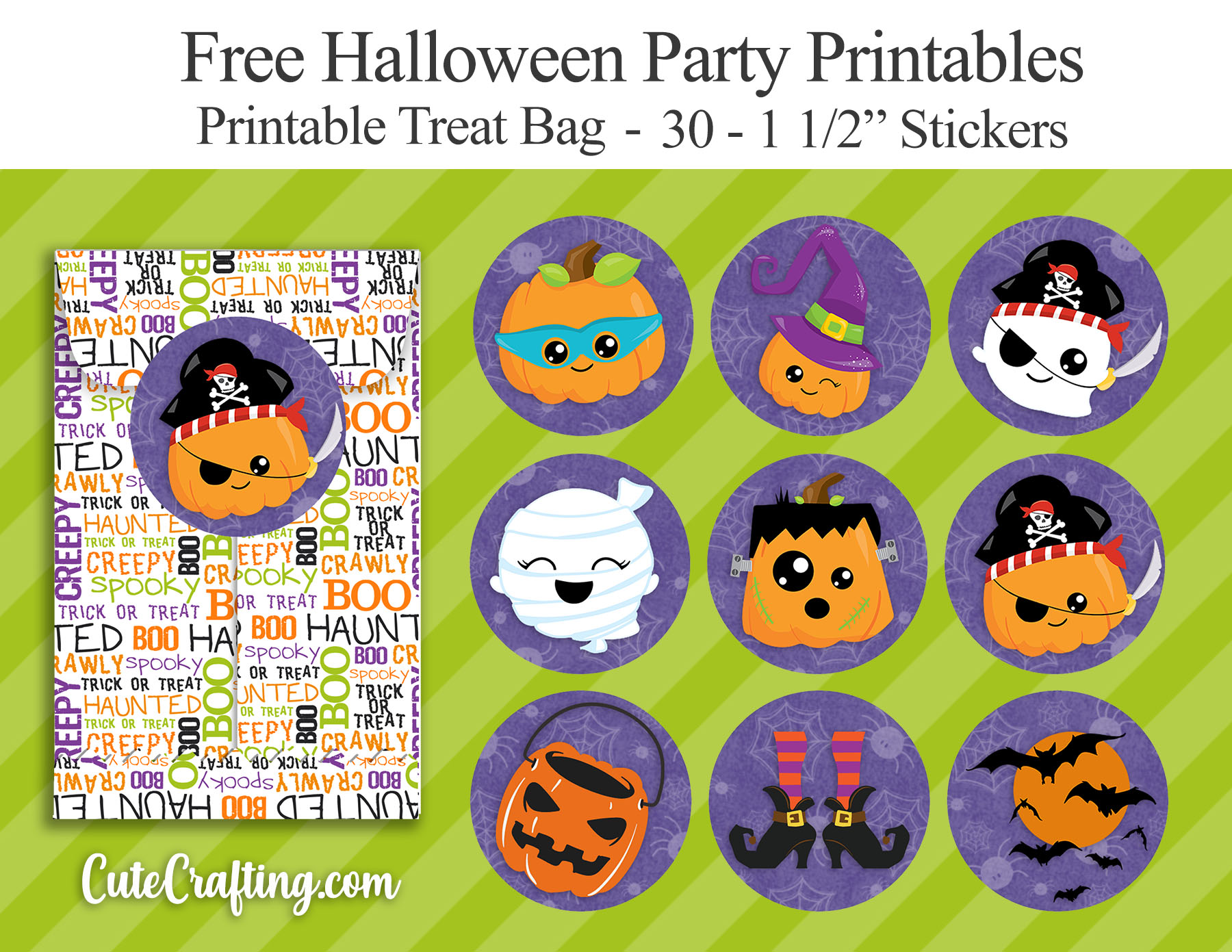 free kawaii halloween stickers