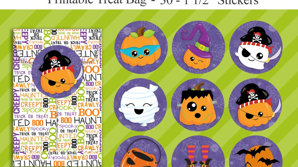 free kawaii halloween stickers