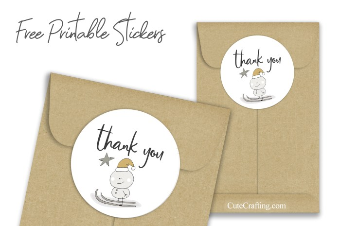 snowman skiing thank you stickers