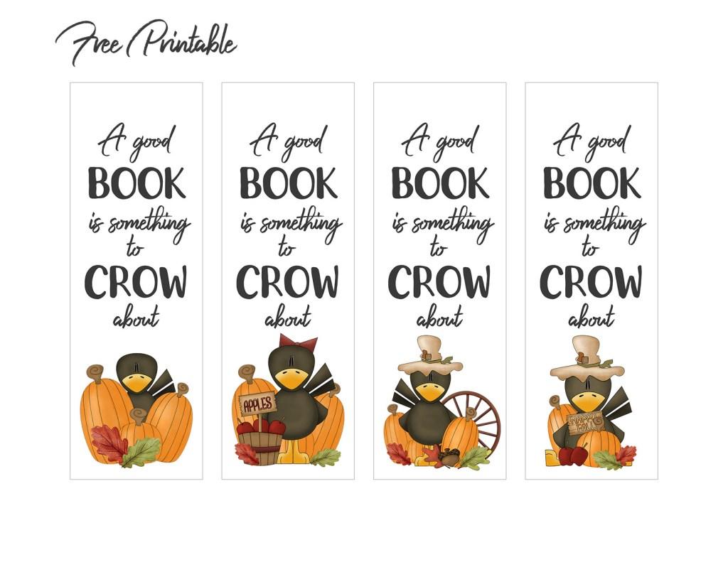 Autumn Crow Printable Bookmarks