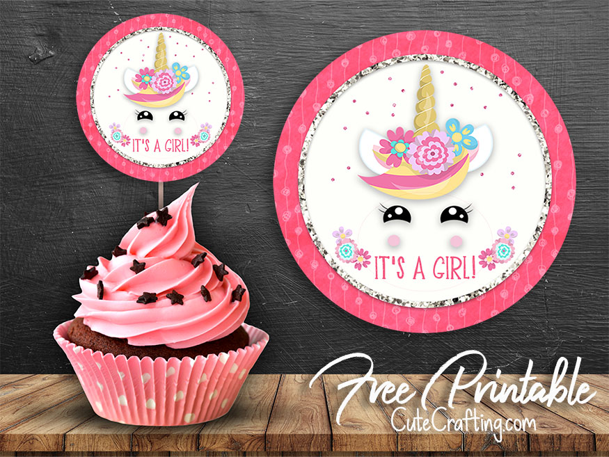 It's just an image of Unicorn Cupcake Toppers Printable with unicorn ear horn topper