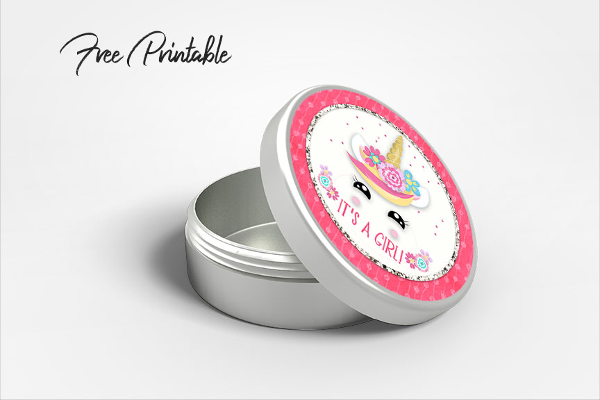 baby shower unicorn party stickers