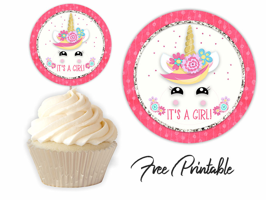It's A Girl Baby Unicorn Baby Shower Printable Toppers