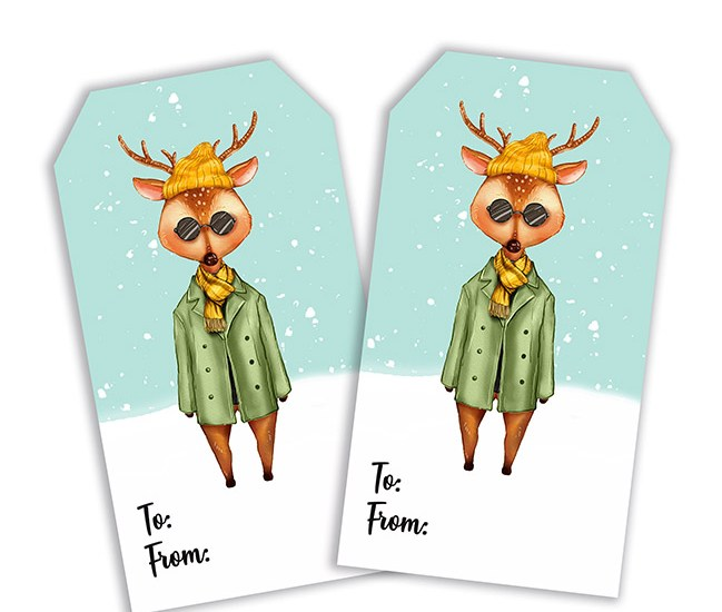 Big City Fashion Hipster Deer Printable Tag
