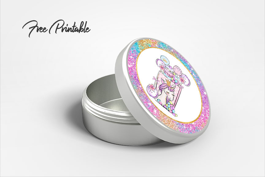 rainbow glitter unicorn party favor printable