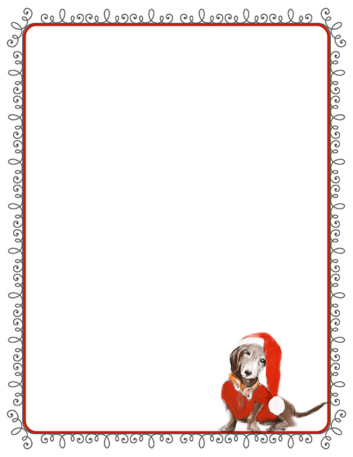 Dachshund Christmas Printable Paper Stationery