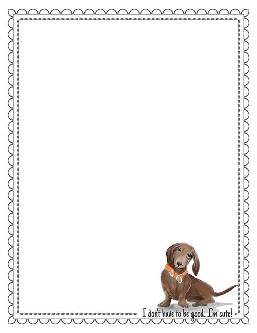 dachshund printable paper stationery