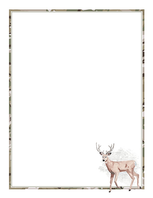 picture relating to Camo Printable Paper named Woodland Pets Camo Printable Stationery Paper