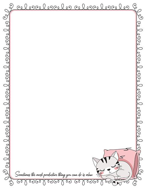 printable kitten stationery