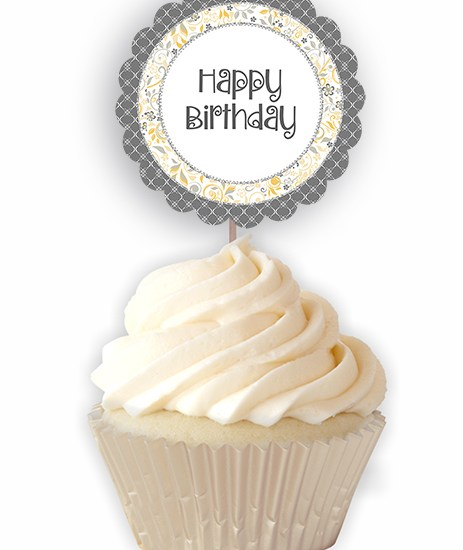 Yellow Grey Birthday Printable