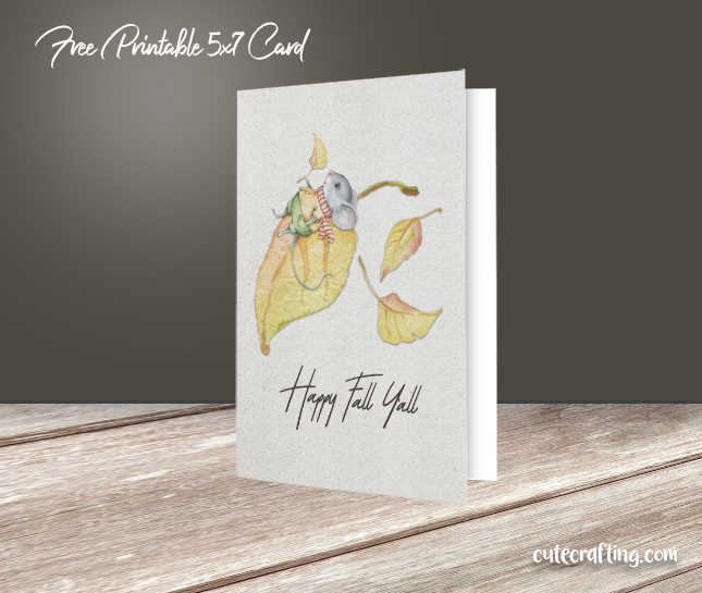 photo regarding Happy Fall Yall Printable identified as Pleased Tumble Yall Mouse upon Leaf Example 5×7 Printable