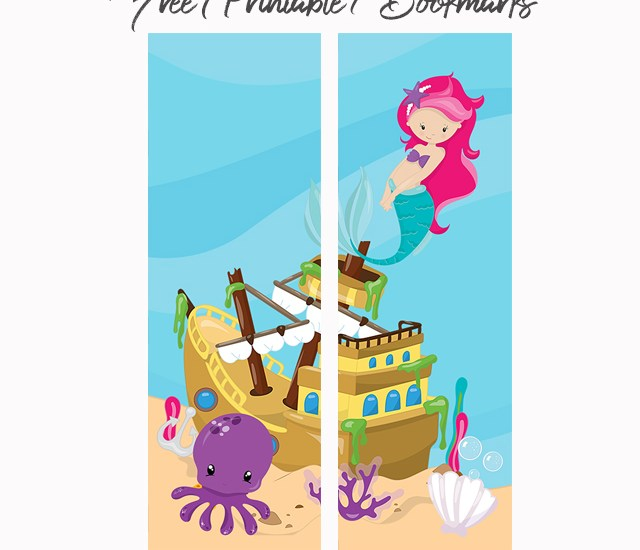 mermaid printable kids bookmark