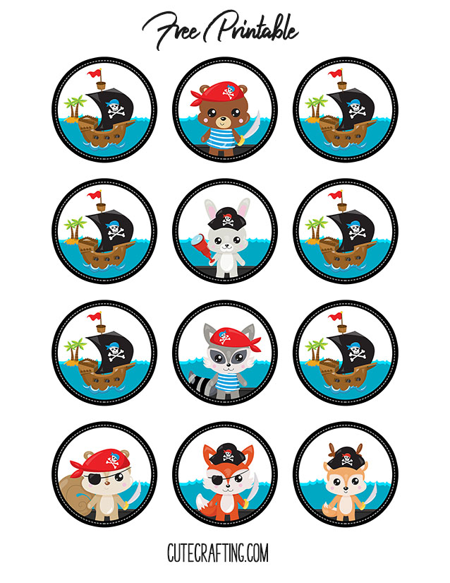 pirate baby shower printable cupcake topper