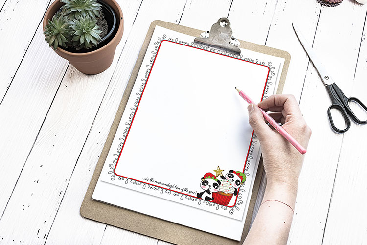 Christmas Newsletter Panda Free Printable