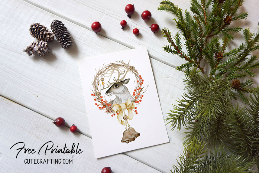 deer card free printable