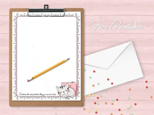 cat printable stationery paper