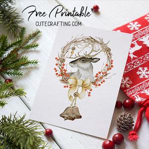 christmas deer card free printable 5x7