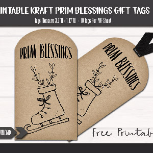 Prim Blessings Ice Skate Christmas Gift Tags Free Printable