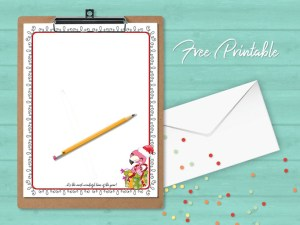 Printable Stationery Christmas Flamingo