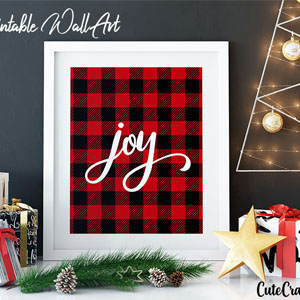 Buffalo Plaid Joy Printable Wall Art