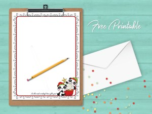 Printable Stationery Christmas Panda Paper Page