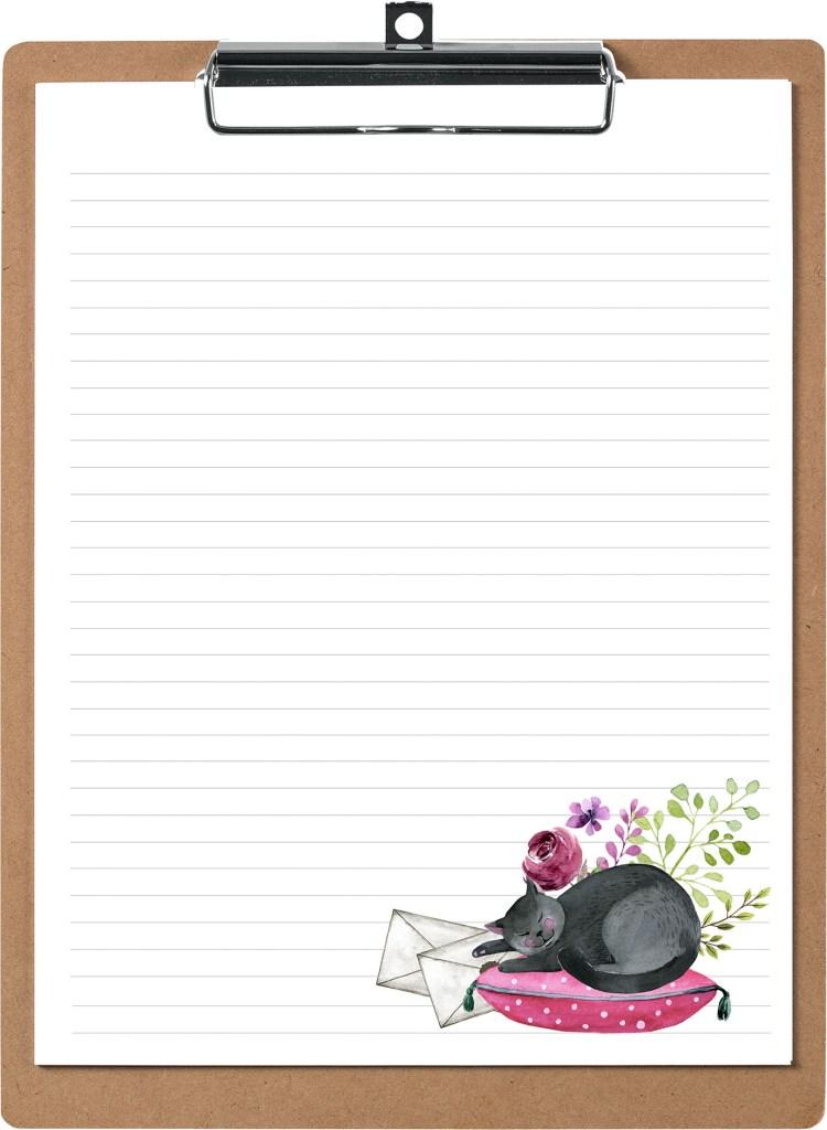 Cat Nap PenPal Free Printable Stationery