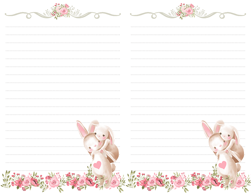 Rabbit Half Page Printable Stationery