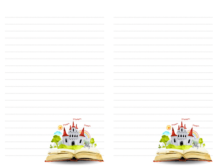 castle book stationery printable half page