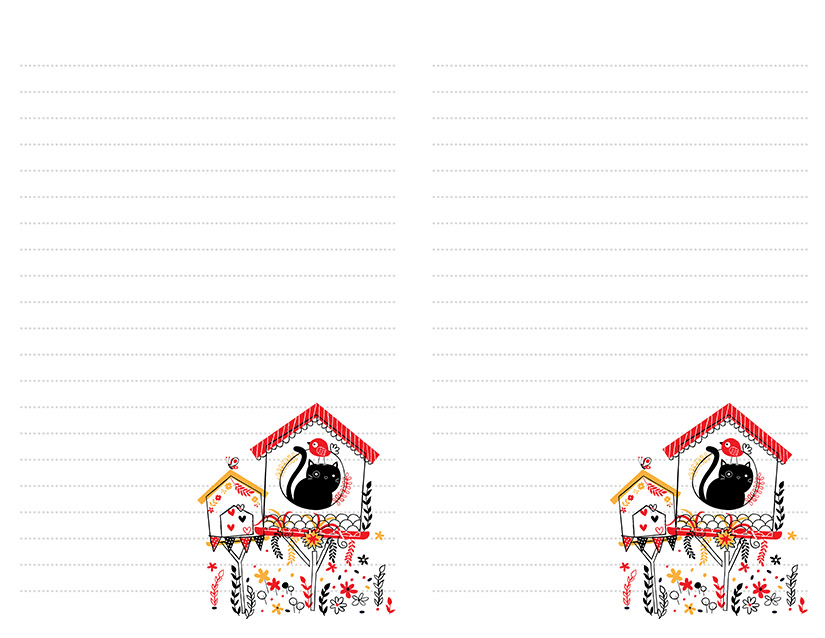 Cat in Birdhouse Printable Stationery