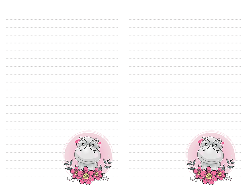 Hippo Flowers Stationery